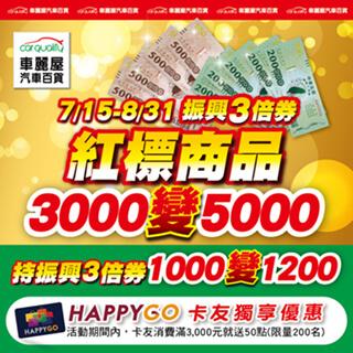 車麗屋振興計劃 領3,000振興券購入價值5,000商品!